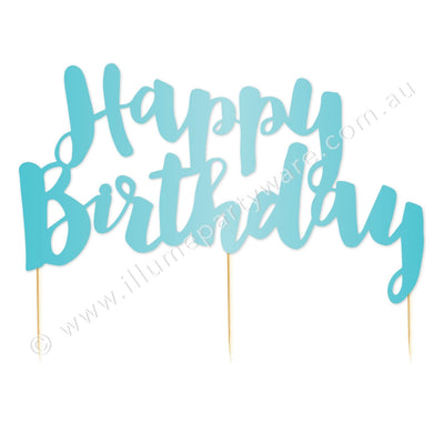 Cake Topper - Happy Birthday - Blue Foil