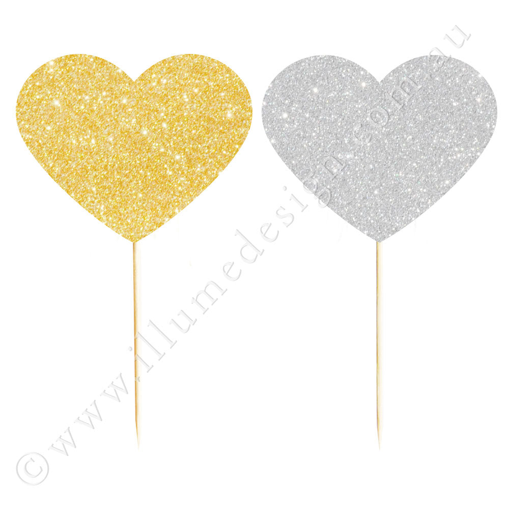 Gold & Silver Glitter Heart Reversible Cupcake Topper - 12 Pce