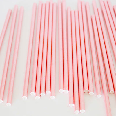 Paper Straws - Pink Foil - Pack of 25