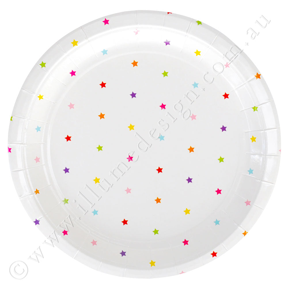 Rainbow Stars Large Plate - Pack of 10
