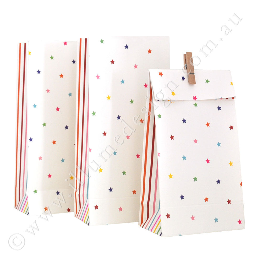 Rainbow Stripe & Stars - Treat Bag - Pack of 10