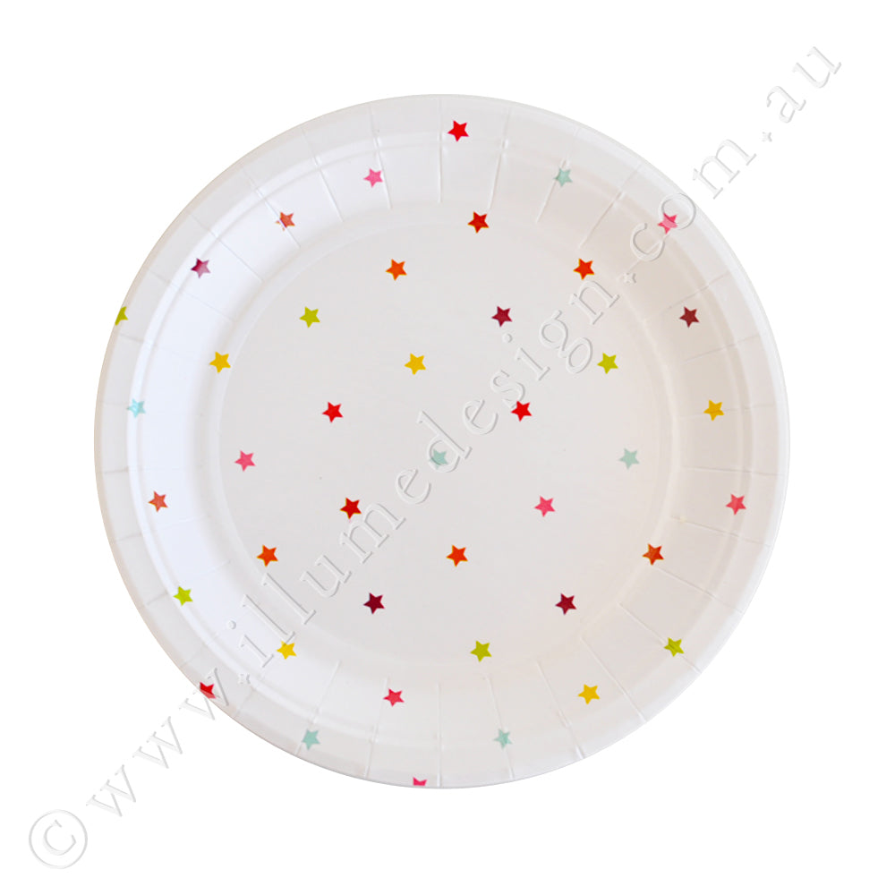 Rainbow Stars Dessert Plate - Pack of 10