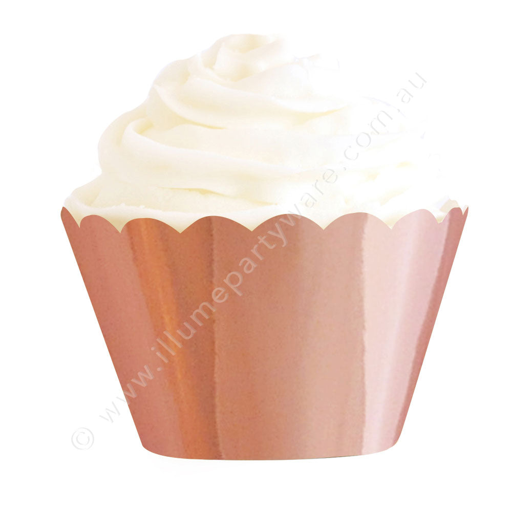 Rose Gold Foil Cupcake Wrapper - Pack of 12