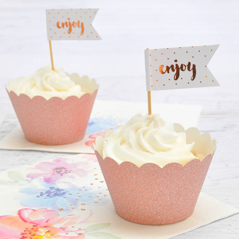 Enjoy Rose Gold Cupcake Topper - 12 Pce