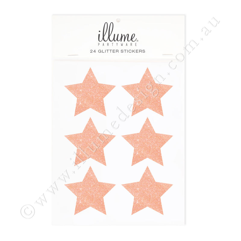Rose Gold Glitter Star Sticker Seals - Pack of 24