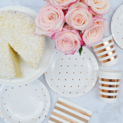 Rose Gold Dots Dessert Plate - Pack of 10