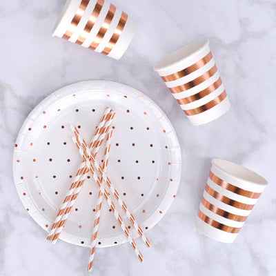 Rose Gold Dots Large Plate - Pack of 10
