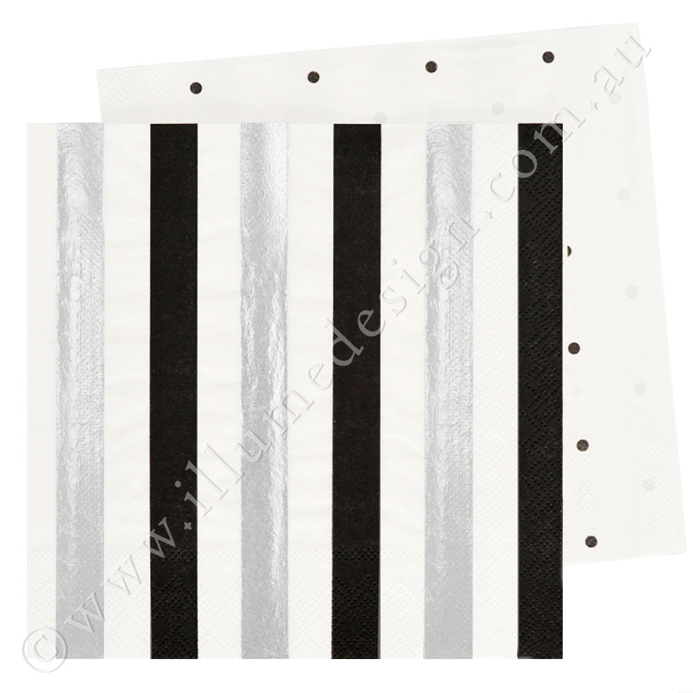Silver & Black Stripes & Dots Luncheon Napkin - Pack of 20