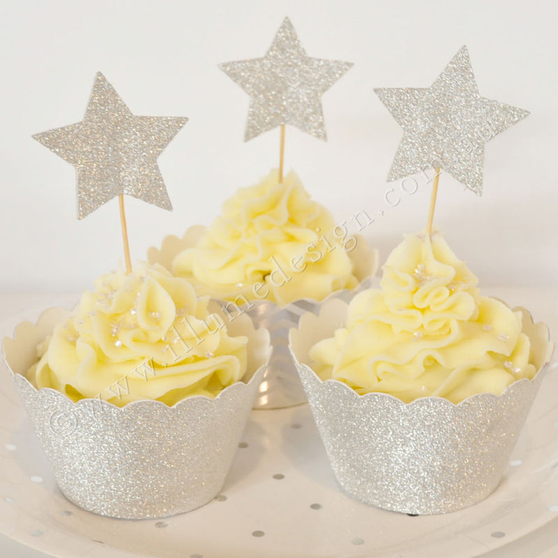 Gold & Silver Glitter Star Reversible Cupcake Topper - 12 Pce