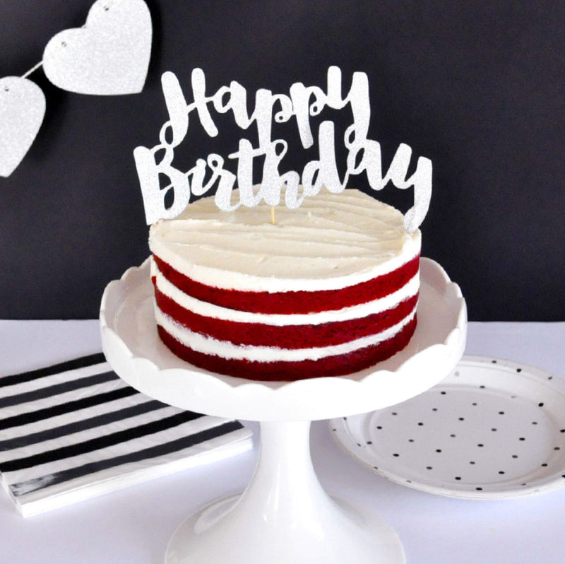Happy Birthday Silver Glitter Cake Topper - 1 Pce