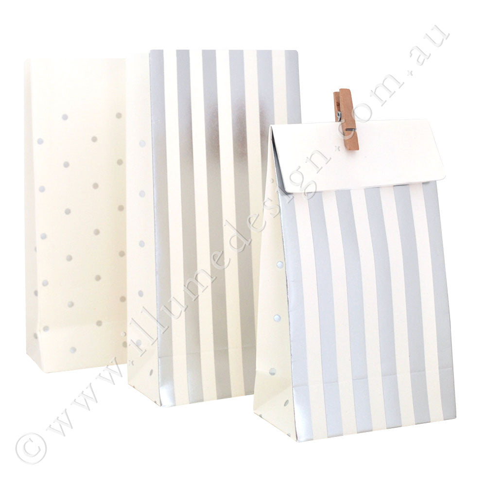 Silver Stripes & Dots - Treat Bag - Pack of 10