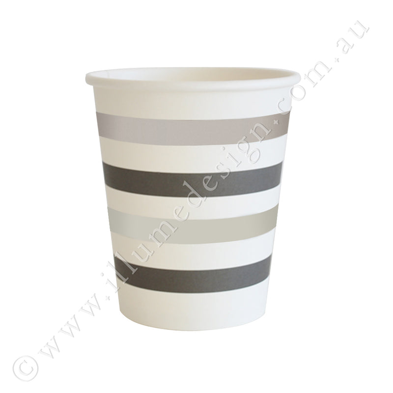Silver & Black Stripe Cup - Pack of 10