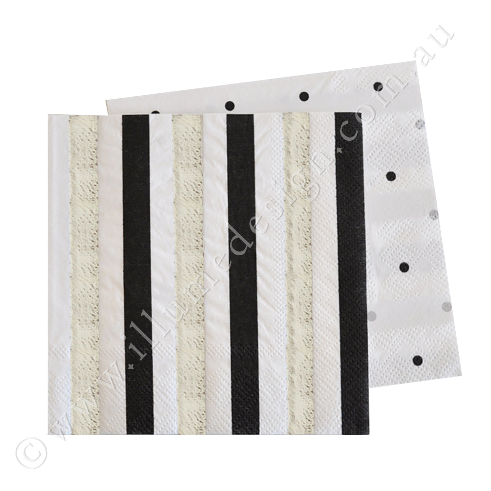 Silver & Black, Stripe & Spots Cocktail Napkin - Pack of  20