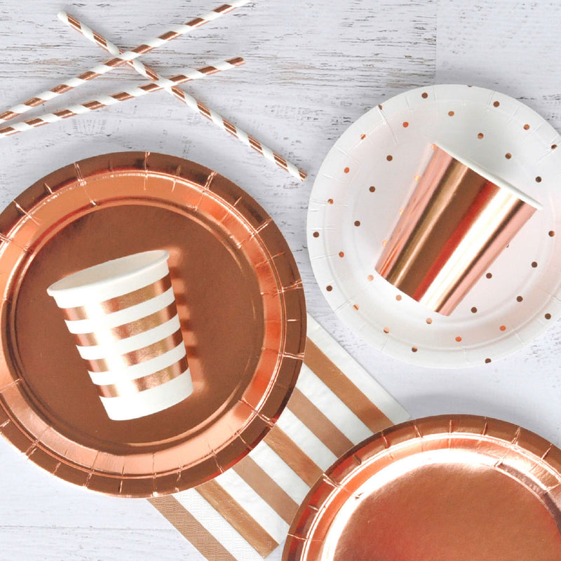 "Rose Gold Foil Large Plate - Pack of 10 - 9"" (23cm) diameter"