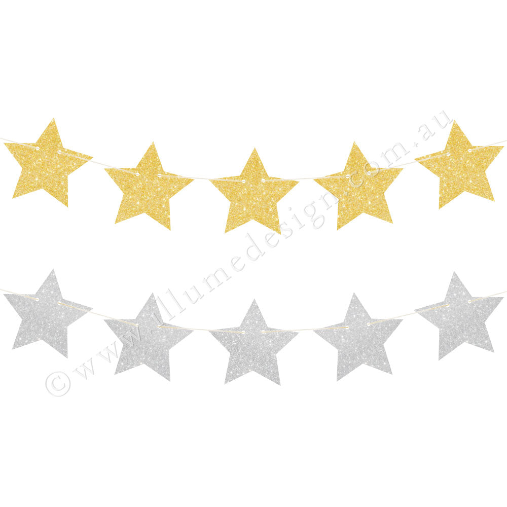 Gold & Silver Glitter Star Reversible Garland