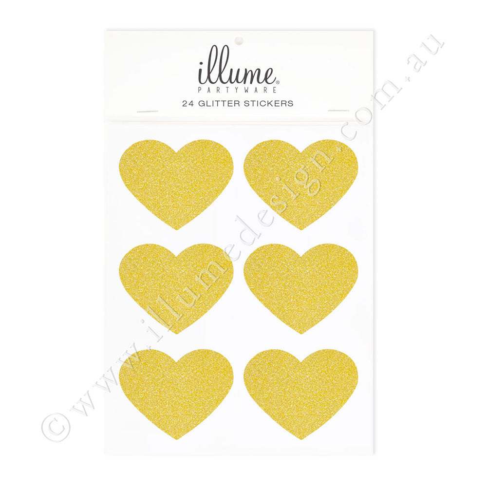 Gold Glitter Heart Sticker Seals - Pack of 24