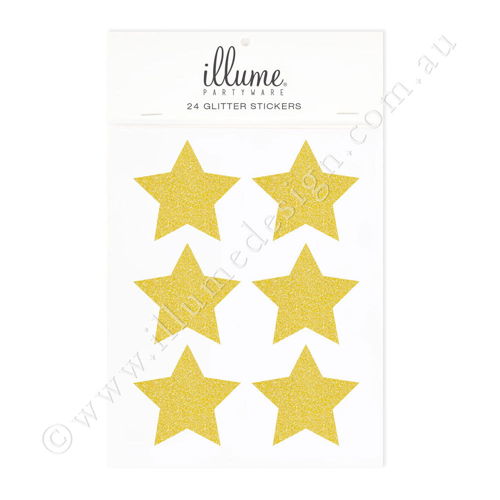 Gold Glitter Star Sticker Seals - Pack of 24