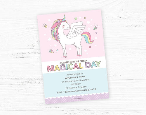 unicorn party invitation diy printable