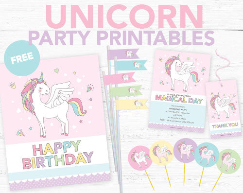 Unicorn invitation printables