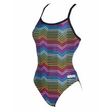 Load image into Gallery viewer, ARENA - W MULTICOLOR STRIPES CHALLENGE BACK ONE PIECE - BLACK:MULTI (002828-550) front side