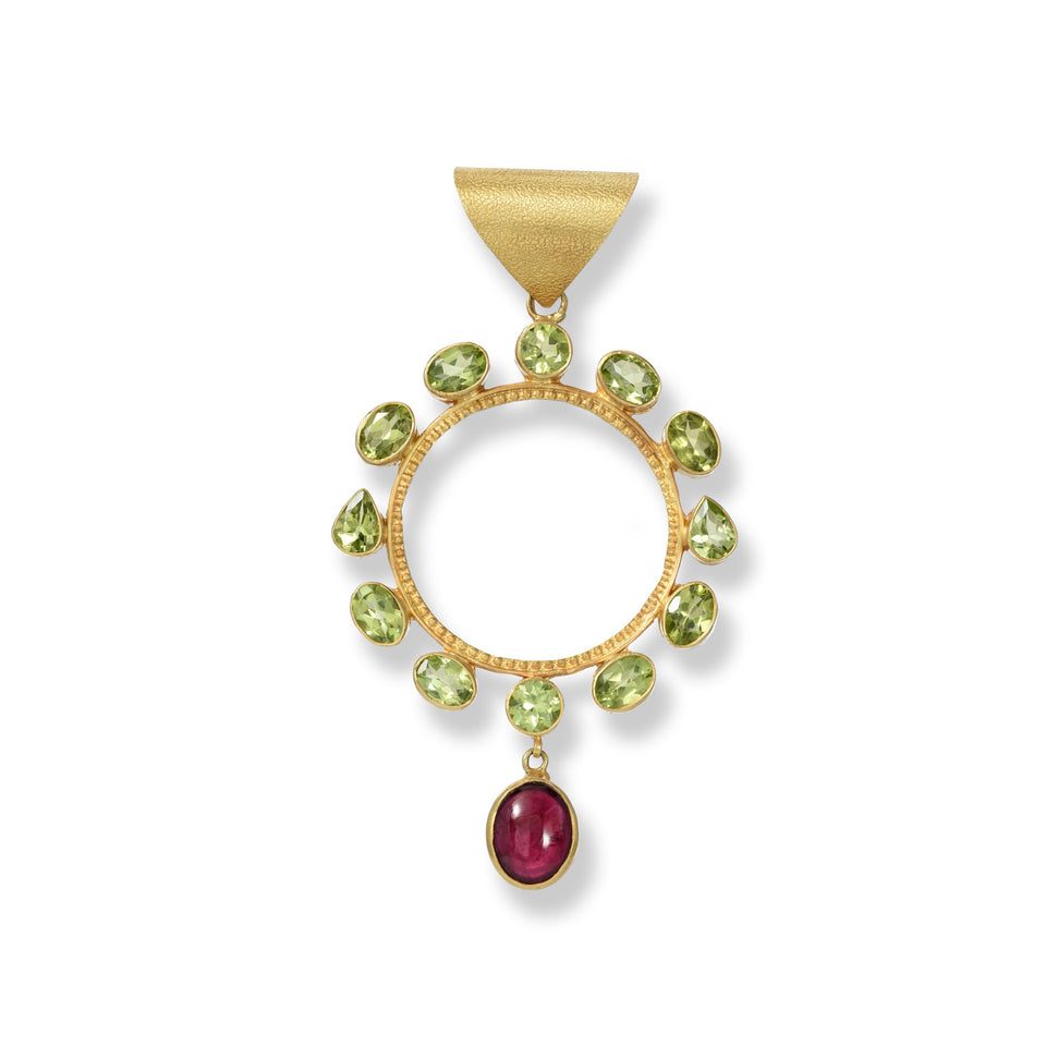 Circle of Protection Peridot & Tourmaline Circle Pendant