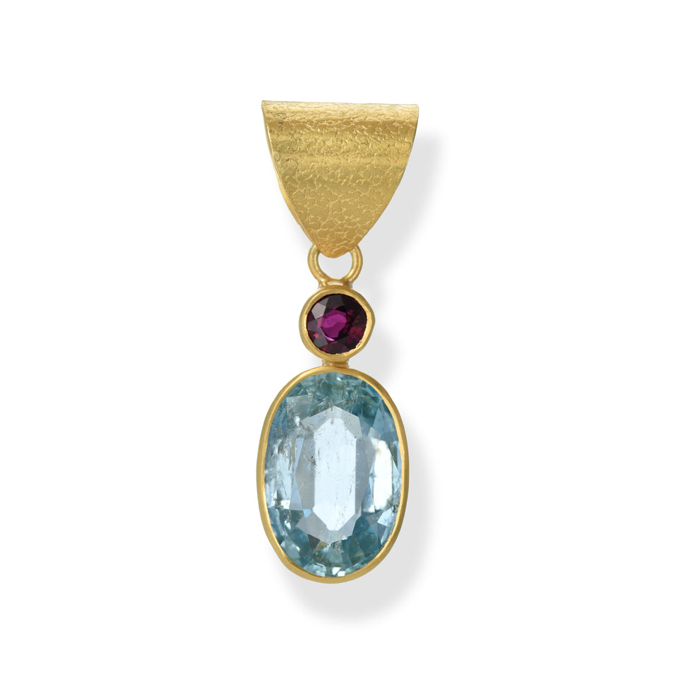 Aquamarine Oval & Ruby Pendant
