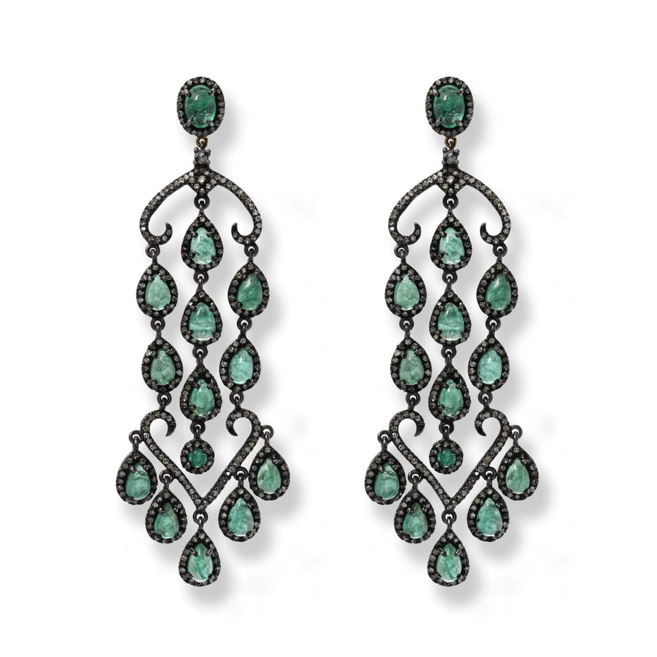 Emerald & Diamond Chandelier Earrings