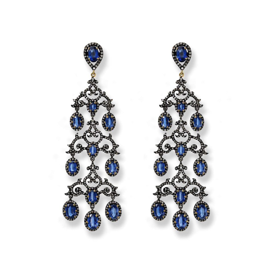 Kyanite & Diamond Chandelier Earrings
