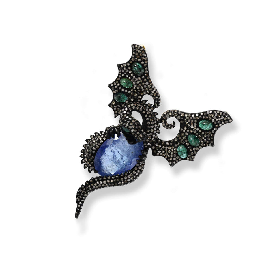 Dragon Tanzanite & Diamond Pendant / Brooch