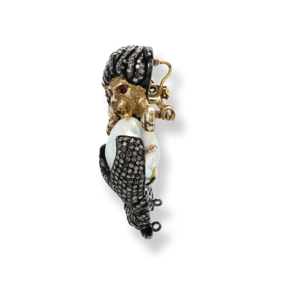 Lion Mermaid Diamond Pendant / Brooch