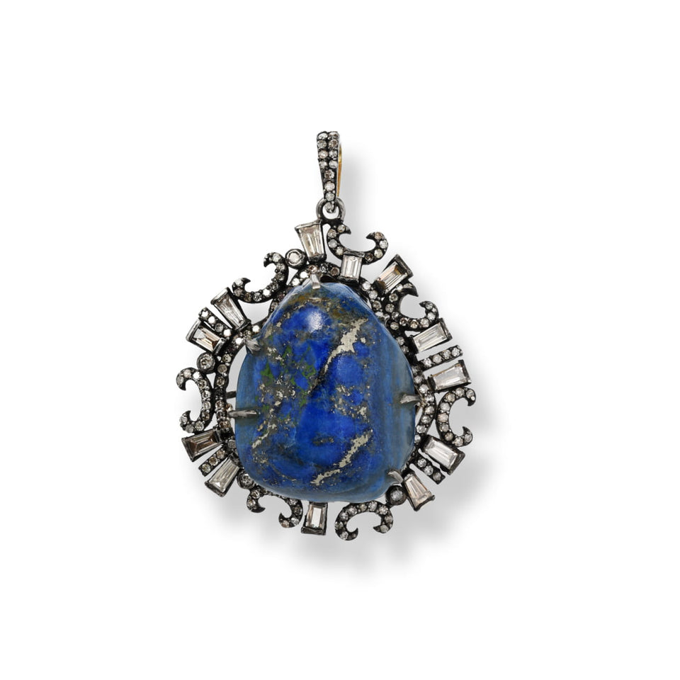 Natural Lapis & Diamond Pendant