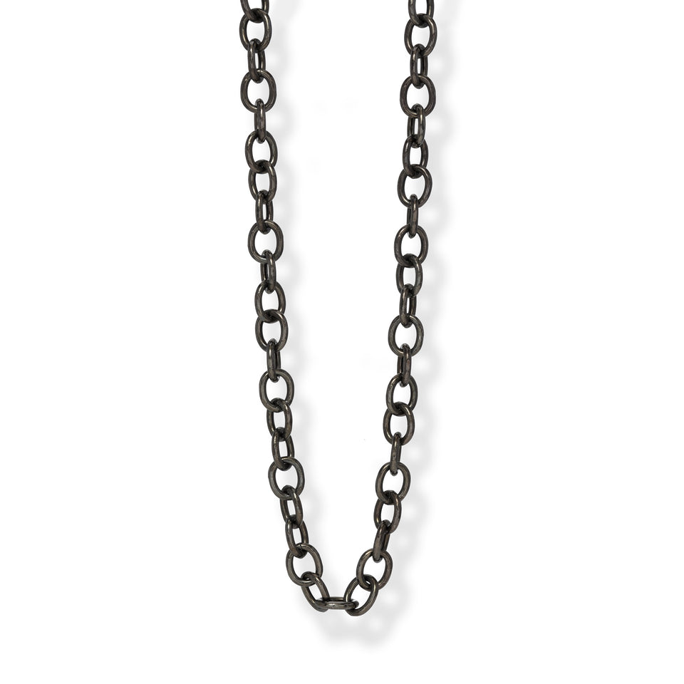 Oxidized Silver Oval Link Chain
