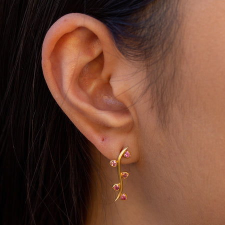 Tourmaline Leaf Ear Climber