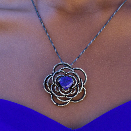 Tanzanite & Diamond Flower Pendant