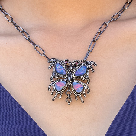 Butterfly Opal & Diamond Pendant / Brooch