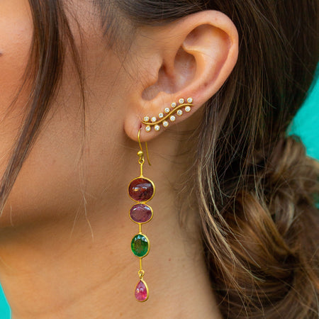 Tourmaline Long Drop Earrings