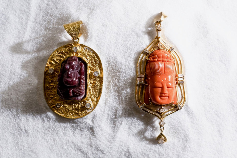 Carved Coral Buddha Pendant