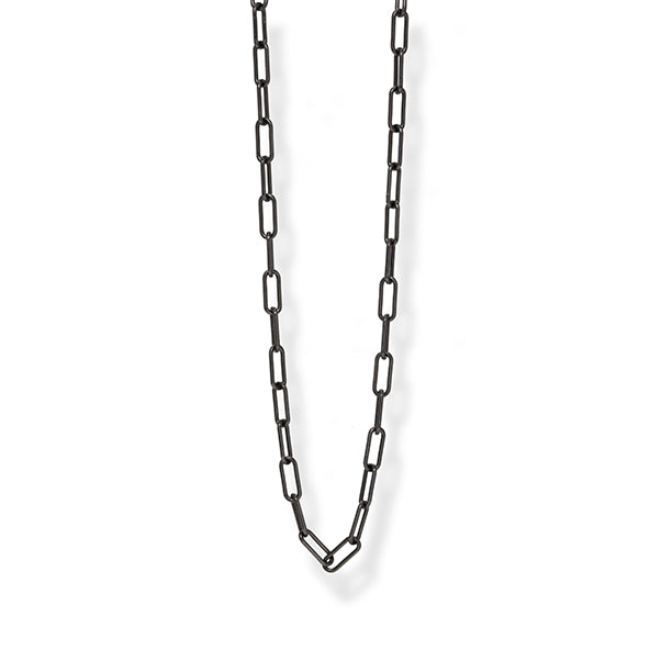 Oxidized Silver Large Paperclip Chain