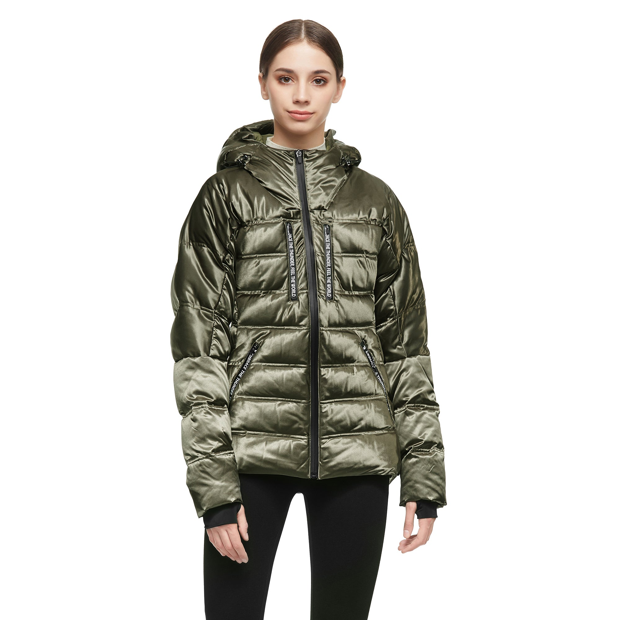 Orolay Women Warm Down Jacket with Hood Unique Quilting Coat YRF8037Q
