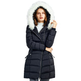 Load image into Gallery viewer, Orolay Women's Long Hooded Asymmetric Puffer Jacket OWD1082W