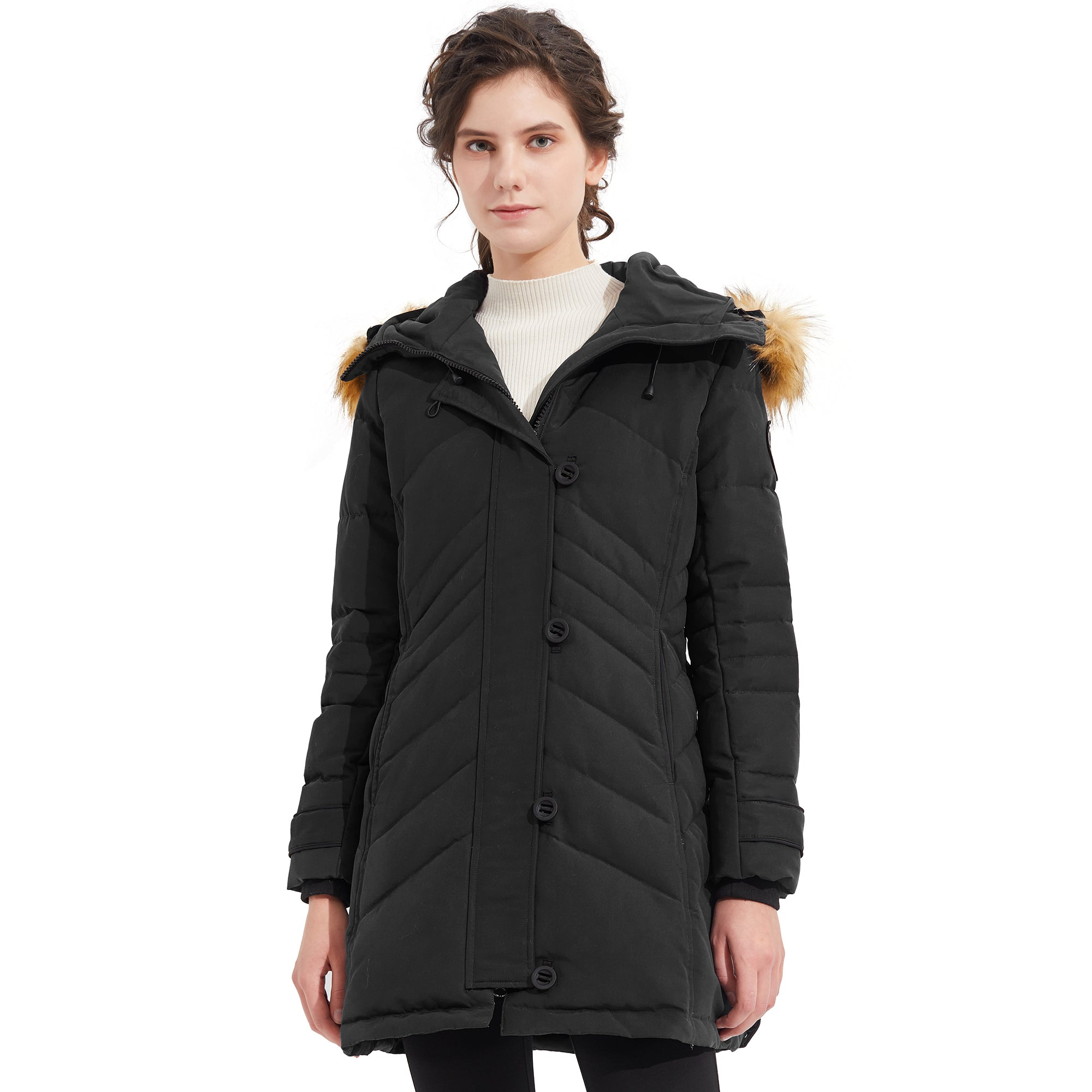 Orolay Women Mid-Length Button and Zipper Closing Down Coat YRF8038Q