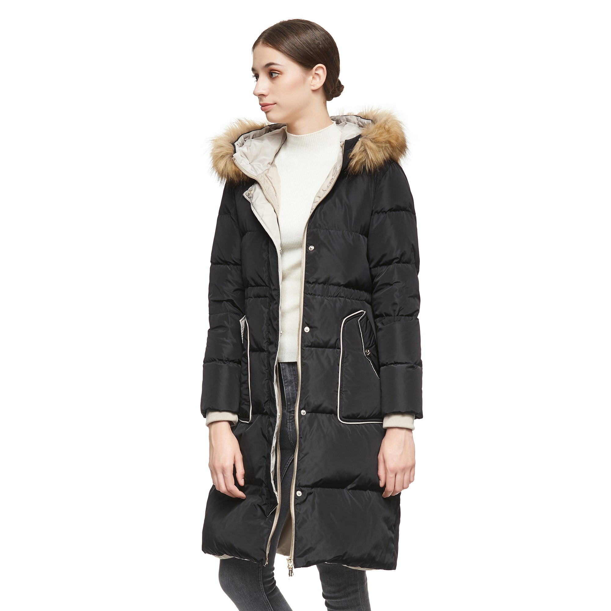 Orolay Women's Winter Casual Mid Length Down Coat with Hood YRF8021Q
