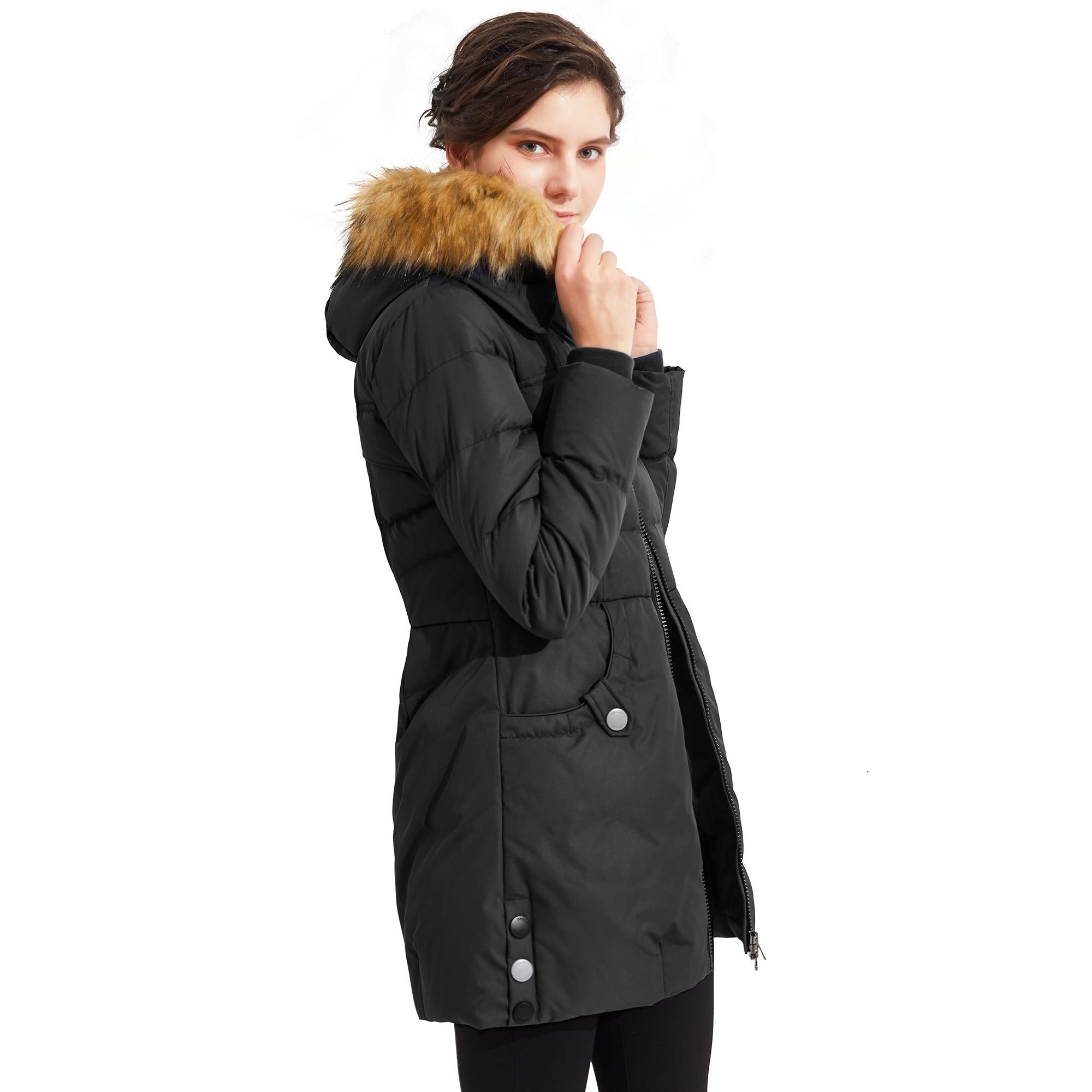 Orolay Women's Light Down Jacket Fur Trim Hooded Coat YRF093ZJM