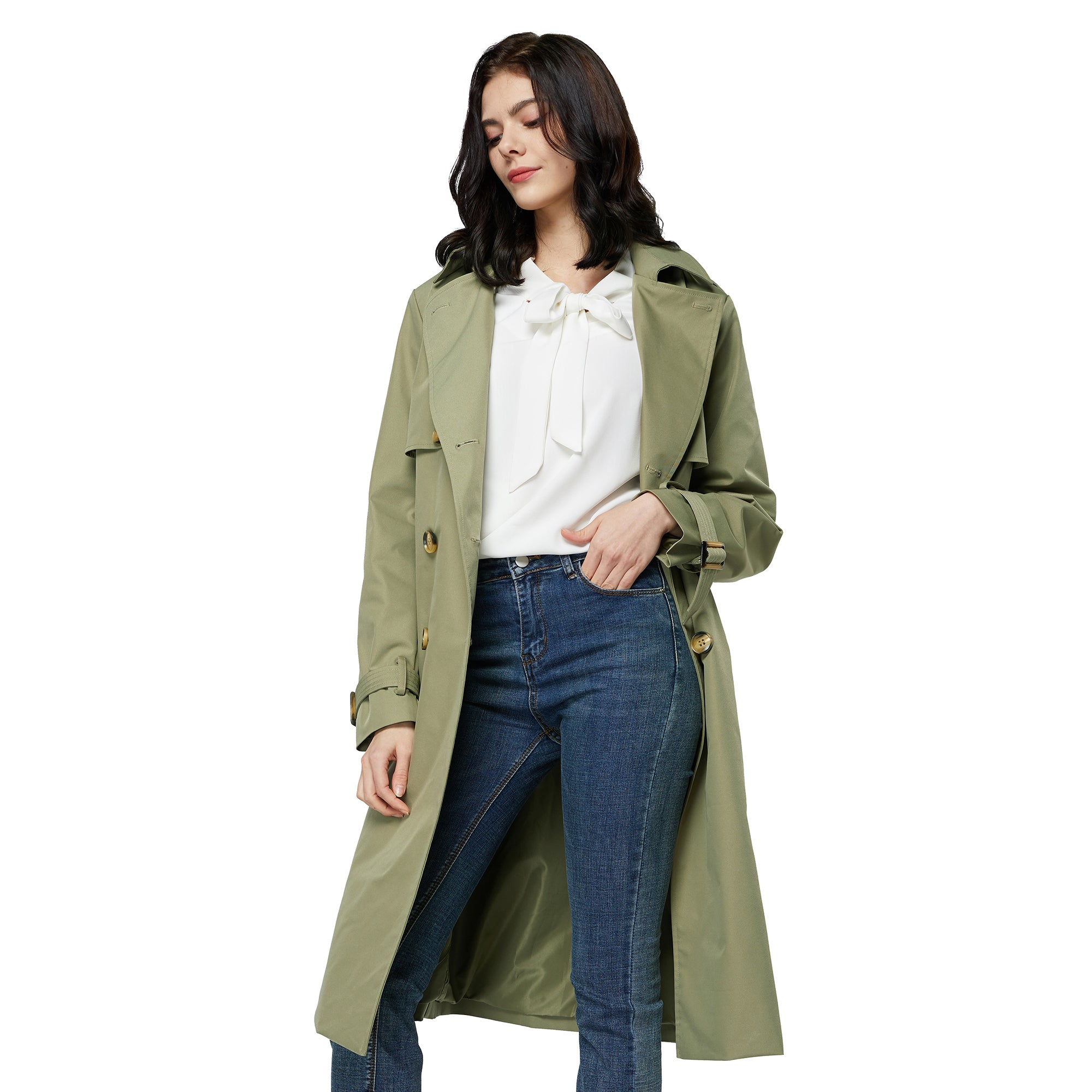 Orolay Women's Belted Double-Breasted Trench FY9001W