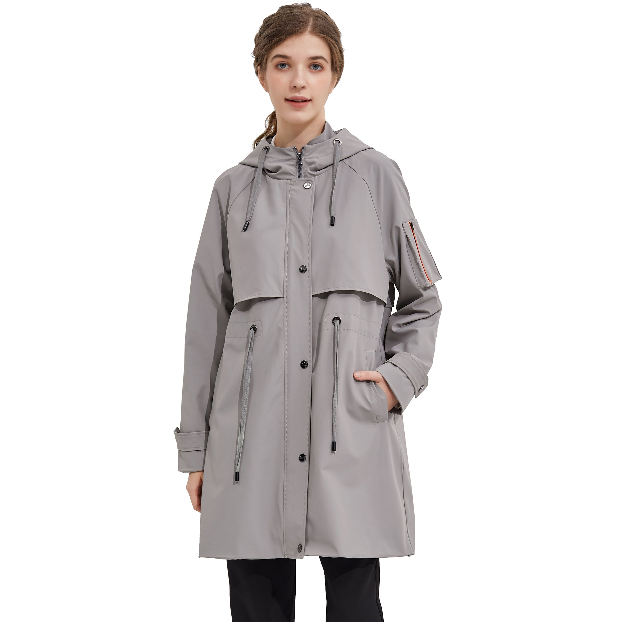 Orolay Women's Double Breasted Long Trench Coat with Belt OWD5064W