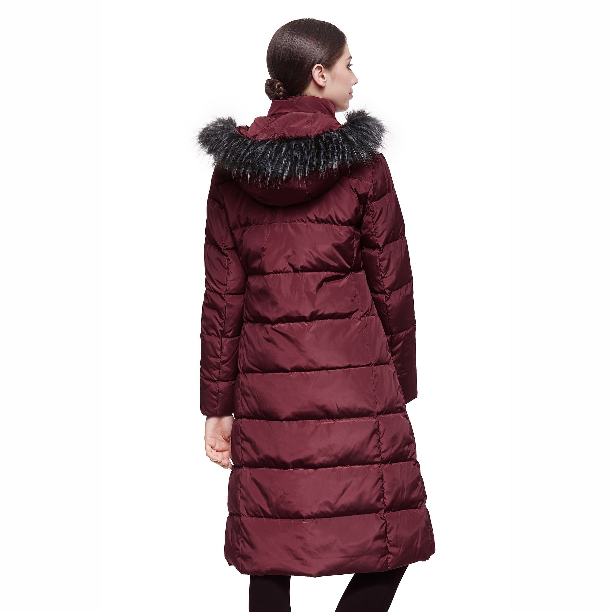 Orolay Women's Puffer Faux Fur Hood Long Down Coat YRF2002N