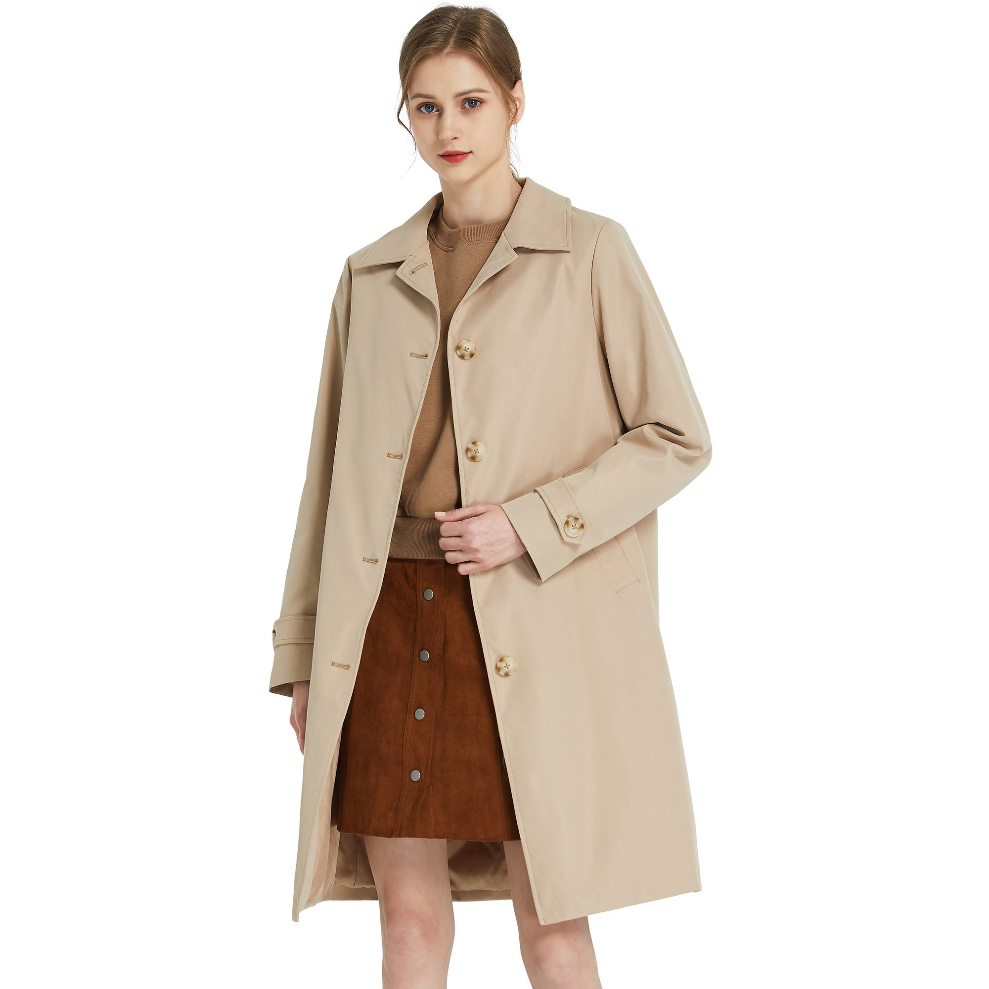 Orolay Women's Single-Breasted Mid Long Windproof Trench Coat OWE5254X
