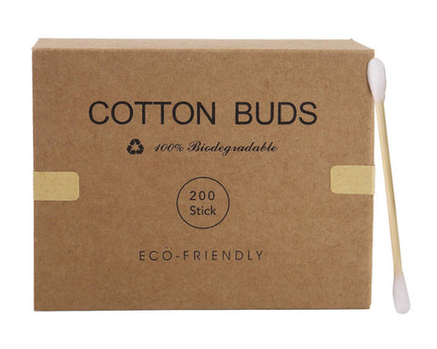 Bamboo cotton swabs plastic free packaging.