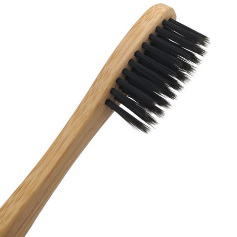 Soft bristles on all-natural bamboo toothbrush