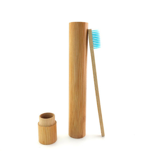 Bamboo toothbrush travel case with bamboo toothbrush.